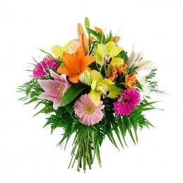 Bouquet de flores variadas mariposa