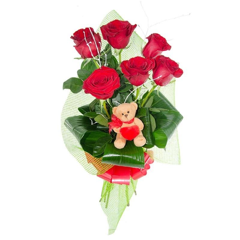 6 Rosas Rojas y Peluche Oso