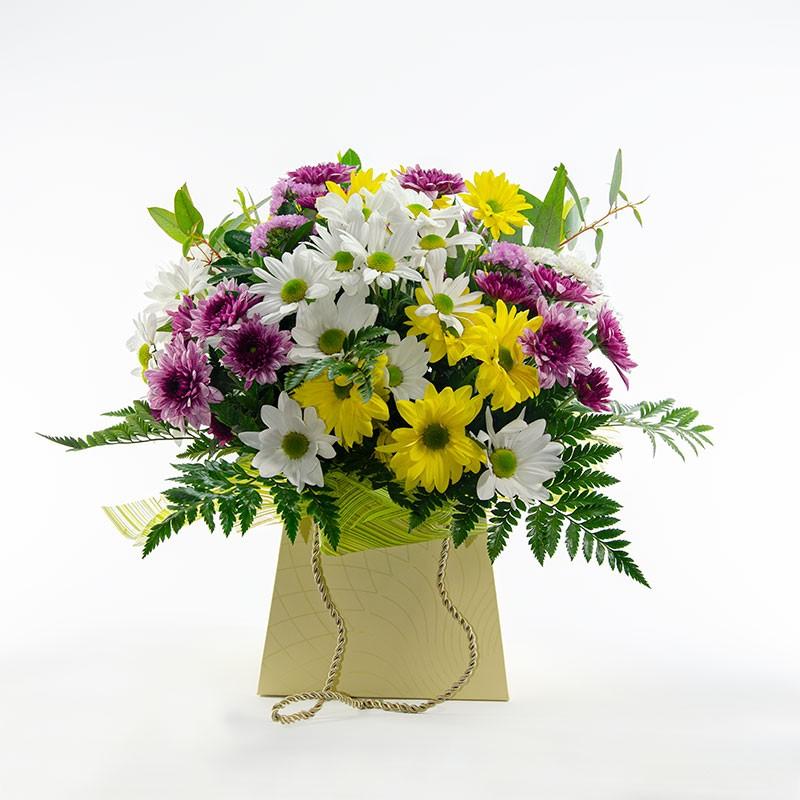 centro de flores margaritas