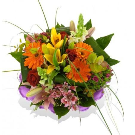 Ramo de flores tonos naranja