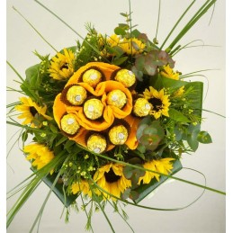Ramo de girasoles con chocolates